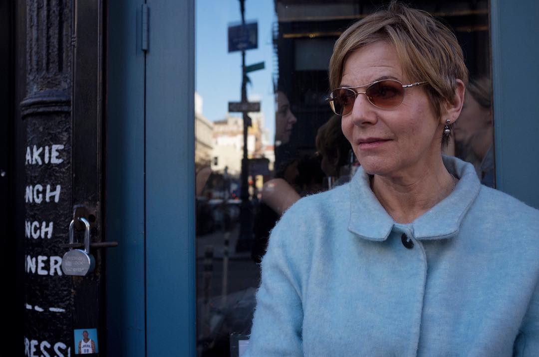 I saw Susan in LES and I loved how her blue coat coordinated with the blue sky in the window reflection. I sometimes get really