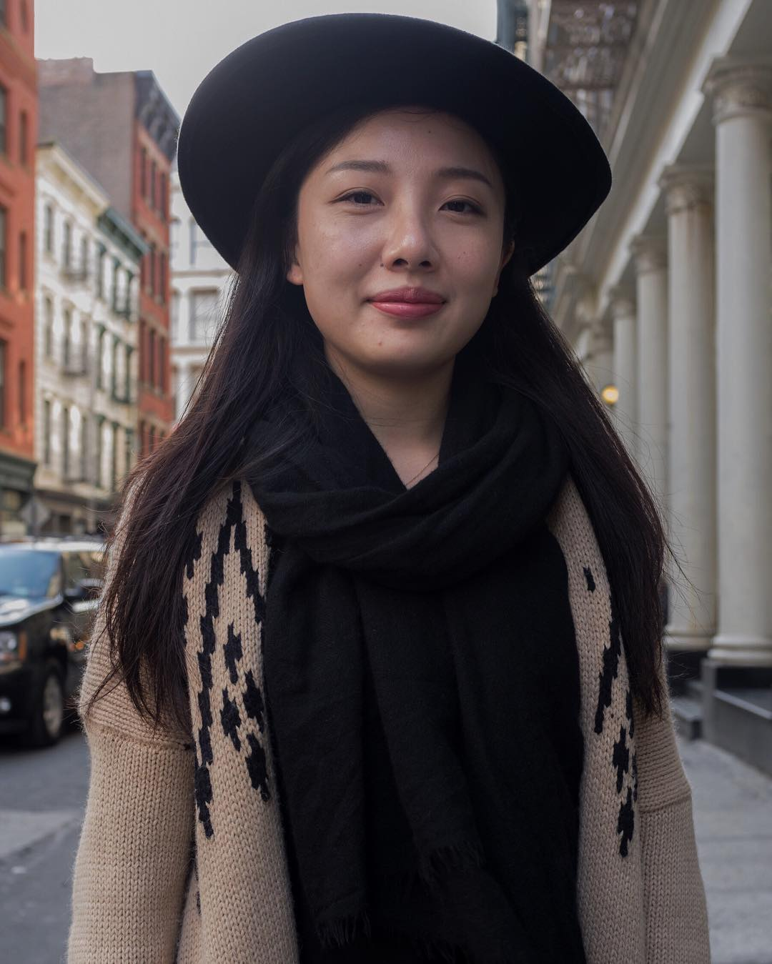 I saw Yoma () walking around SOHO. Her sweater hat combo was killer. How is your day going: Great What do you like about yourself?